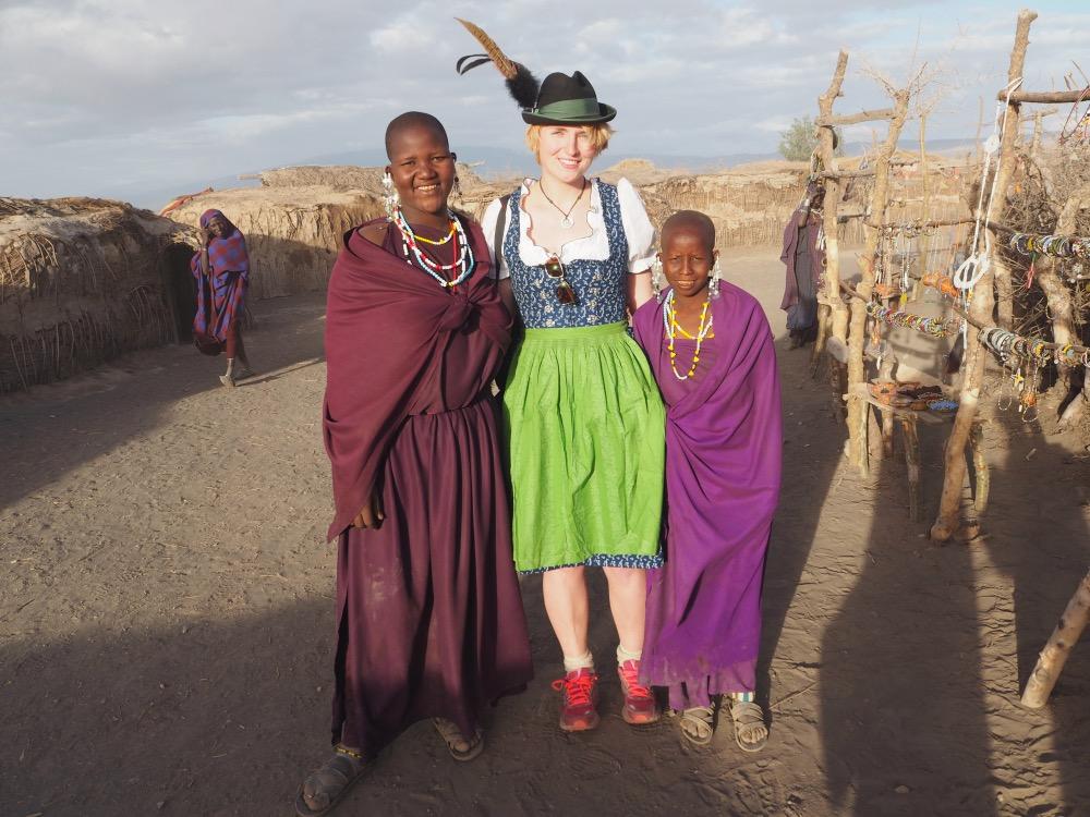 Dirndl Visiting Masai Village